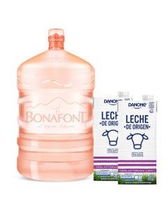 Agua Natural Bonafont 20L más Leche de Origen Danone Deslactosada Light 2x946mL