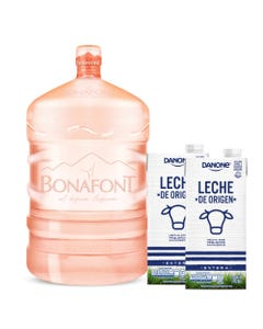 Agua Natural Bonafont 20L más Leche de Origen Danone Entera 2x946mL