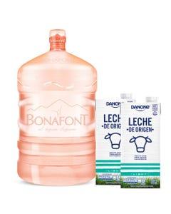 Agua Natural Bonafont 20L más Leche de Origen Danone Light 2x946mL