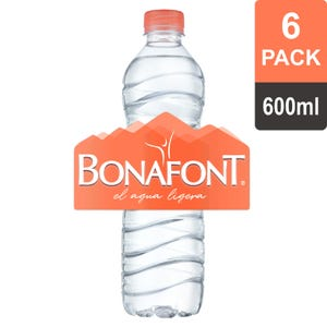 Bonafont® agua natural, pack de 6 botellas de 600 ml c/u