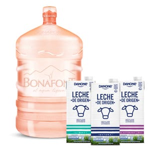 Líquido de agua Bonafont mas 3 tipo de Leche Danone