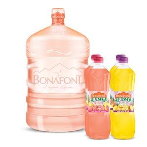 Agua Bonafont 20L mas Juizzy Agua Fresca de Guayaba y Piña 4x1L