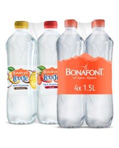 Agua Bonafont 1.5 Litros y Agua Infusionada Bonafont Levité con un Toque de Sabor a Piña Coco y Fresa 1 Litro