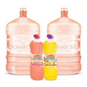 Agua Bonafont 2x20L mas Juizzy Agua Fresca de Guayaba y Piña 4x1L