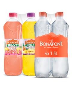 Agua Bonafont 1.5 Litros y Agua Fresca Bonafont Juizzy Sabor Guayaba y Piña 1 Litro
