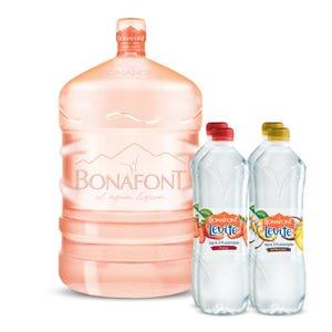 Agua Bonafont 20L mas Levité Agua Infusionada de Piña Coco y Fresa 4x1L