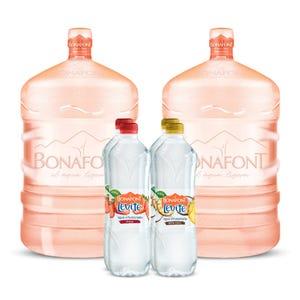 Agua Bonafont 2x20L mas Levité Agua Infusionada de Piña Coco y Fresa 4x1L