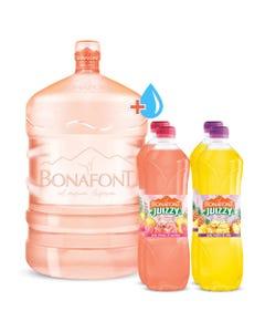ENVASE Garrafont de 20 lts + Agua natural para Garrafont 20 lts + 4 pack juizzy 1lt Piña Guayaba