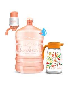 ENVASE Garrafont de 20 lts + Agua natural para Garrafont 20 lts + Bomba de agua MANUAL + Jarra de vidrio Colección Chiles