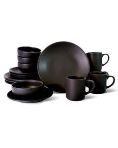 Vajilla de Porcelana Bonafont Colección Terra Negra 16 piezas