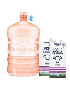 Envase más Agua Natural Bonafont 20L más Leche de Origen Danone Deslactosada 2x946mL