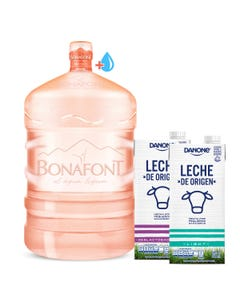 Envase más Agua Natural Bonafont 20L más Leche de Origen Danone Deslactosada y Light 946mL