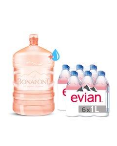 Garrafon de 20 Litros más 2 pack de 6 botellas de 1 Lt. Evian