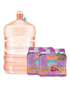 Envase mas Agua Bonafont 20L mas 2 Bonafont Kids Bebida con Jugo de Uva 6x300mL