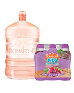 Agua Bonafont 20L mas Bonafont Kids Bebida con Jugo de Uva 6X300mL
