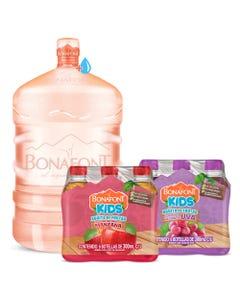 Envase mas Agua Bonafont 20L mas Bonafont Kids Bebida con Jugo de Uva y Manzana 6x300mL c/u