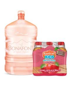 Agua Bonafont 20L mas Bonafont Kids Bebida con Jugo de Manzana 6x300mL